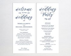 Navy Blue Wedding Program Template Wedding Ceremony Program