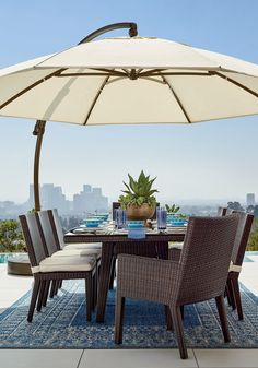 The engineering that makes this umbrella swivel and tilt is so extraordinary, it's been patented by the Germans who invented it. Simply turn the knob to rotate the canopy, and slide a lever to angle it against the sun. The awning-grade canopy pivots easily between furniture settings so you can shade a lounging area and a dining area with one umbrella.