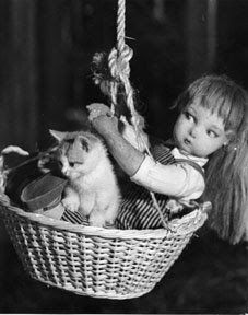 Edith and the kitten take a ride in Dare Wright's book, one of The Lonely Doll series. Awesome.