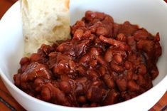 Beans cooked with venison, BBQ sauce, liquid smoke, bacon, onions and other sweet and savory spices. Venison Recipes, Meat Recipes, Crockpot Recipes, Wild Game Recipes, Fish Recipes, Hunt To Eat, Venison Chili, Bbq Beans, Deer Meat