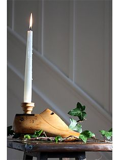 This unique candle holder made from a vintage 1930s wooden shoe last combines two things we love, the romance of candle light and the beauty of shoes!