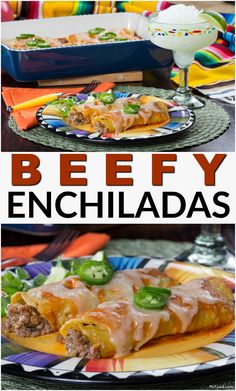 There's lots of ground beef and cheese in these smothered enchiladas. You'll love this easy Tex-Mex dish! Mr Food Recipes, Fun Easy Recipes, Recipies, Easy Meals, Ground Beef Burritos, Slow Cooker Ground Beef, Healthy Ground Beef, Ground Beef Recipes For Dinner, Mexican Dishes