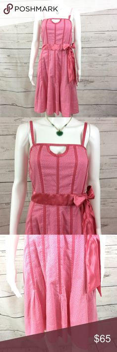 """Marc Jacobs Pretty in Pink cotton full lined dress Excellent condition no flaws Marc Jacobs midi dress corset lined with pretty satin waist and bow zip back. 17"""" bust layed flat 37"""" long from shoulder to hem 15"""" waist layed flat Marc Jacobs Dresses Midi"""