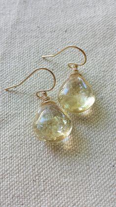 Natural Citrine Earrings 14k Gold Citrine by BlackwoodArts on Etsy