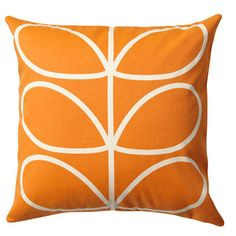 Orla Kiely Linear Stem cushion in orange, This classic print will brighten up any sofa, Wash as cotton; for further care instructions, see care label.