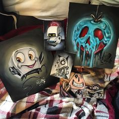 Here's some mini original paintings for sale at themachinistfactory.com or just click the link in my bio. #bravelittletoaster #poisonapple #m-o #frankenweenie #mayorofhalloweentown