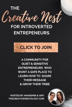 Join our community for introverted entrepreneurs who want a safe place to learn how to attract their customers, feel comfortable with self promotion, share their message and grow their tribe.