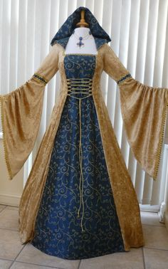 Pagan Handfasting Dress Medieval Wedding Gown Gold & Blue, Dawns Medieval Dresses
