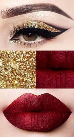 One of the best Christmas makeup looks - gold glitter eyeshadow, sexy eyeliner plus dark wine lipstick - fab! | @Cath_Millen