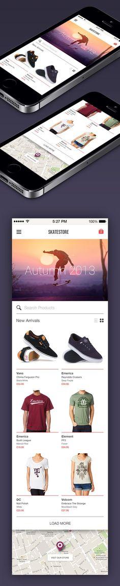 Skatestore by Piotr Kwiatkowski, via Behance