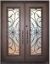 In Stock Custom Wrought Iron Entry Doors w/ Oper-able Glass Panels & FlysScreen $2790