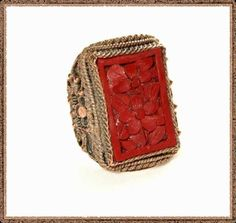 cinnabar   Carved Cinnabar Chinese Ring Early 1900s Antique Oriental Jewelry ...