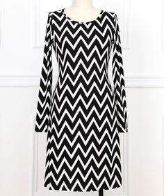 Black & White Zigzag Scoop Neck Dress - Plus by Reborn Collection #zulily #zulilyfinds