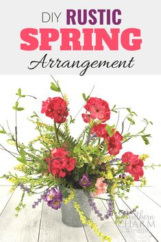DIY Rustic Spring Arrangement: How to make a centerpiece using a galvanized metal bucket and silk flowers Diy Silk Flower Arrangements, Artificial Flower Arrangements, Artificial Flowers, Diy Spring Wreath, Spring Door Wreaths, Easter Wreaths, Silk Flowers, Spring Flowers, Rustic Flowers