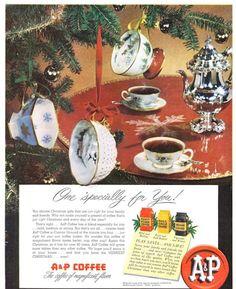 A&P coffee. Coffee cups on the tree?