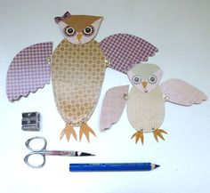 Cute DIY Owl Mom & Baby Fold Out Wing Card for by ArtistInLALALand, $4.00