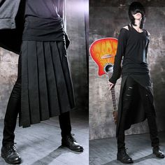 Free Shipping Non-mainstream personality 2014 new novelty casual pants skirt male aprons men skirt  skirt men  cuff pants