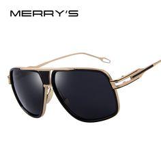 MERRY'S Men's Sunglasses Newest Vintage Big Frame Goggle Summer Style Brand Design Sun Glasses Oculos De Sol UV400