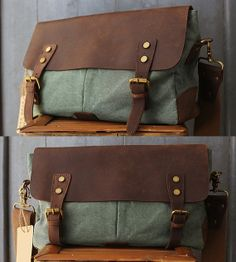 Causal Briefcase Leather Canvas Cross body bag by Whatleather, $351.00