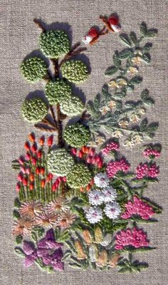 kit by The French Needle includes stem, lazy daisy, french knot, colonial knot, blanket, fly, straight, bullion, leaf, pistil, long and short and satin stitch.