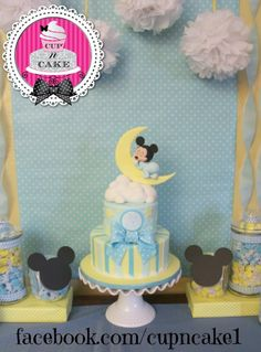 Baby Mickey baby shower cake - Cake by Danielle Lechuga Baby Mickey Mouse Cake, Festa Mickey Baby, Bolo Mickey, Mickey Cakes, Baby Mouse, Mickey Party, Torta Baby Shower, Baby Boy Shower, Baby Shower Parties