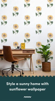 Invite a positive feel to your home with a sunflower wallpaper, a radiant flower thats instantly recognisable for its vibrant yellow petals. Wallpaper Room Decor, Mobile Wallpaper, Wallpaper Murals, Sunflower Design, Yellow Sunflower, Modern Wallpaper Designs, Designer Wallpaper, Sunflower Wallpaper, Vintage Designs
