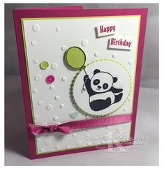 """I think my favorite Sale-a-Bration item this year is the """"Party Pandas"""" stamp set. Those little panda. Panda Birthday, Kids Birthday Cards, Handmade Birthday Cards, Greeting Cards Handmade, Happy Birthday, Scrapbooking, Scrapbook Cards, Bear Card, Panda Party"""