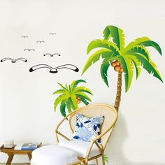 (Amazon FBA) One set of this item have 2 pieces coconut trees, 7 pieces seagulls. All items come in sections and can be positioned as you wish.  Material: PVC/Vinyl  Product size: 60cm(h) * 90cm(w)  Display size: 125cm(h) * 105cm(w)  Net weight: About 147g  Color: As the display pictures
