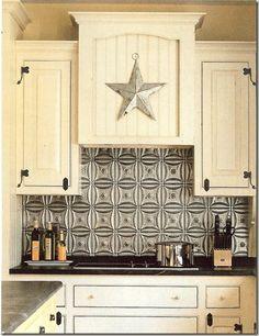 Tin kitchen backsplash