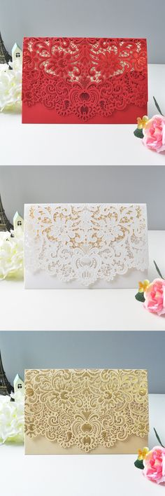 1sample Elegant flower design laser cut Wedding Invitation card white red gold wedding invitations Free Printing with envelopes