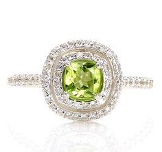 Peridot Double Halo Engagement Ring Peridot Ring 14K Diamond Halo Ring August Birthstone Custom Bridal Jewelry via Etsy