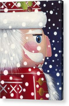 Santa Nutcracker Acrylic Print by Lynn Bywaters. All acrylic prints are professionally printed, packaged, and shipped within 3 - 4 business days and delivered ready-to-hang on your wall. Choose from multiple sizes and mounting options. Christmas Balls, Christmas Art, Christmas Ornaments, Nutcracker Christmas Decorations, Xmas, Pintura Country, Wood Ornaments, Tole Painting, Interior Painting