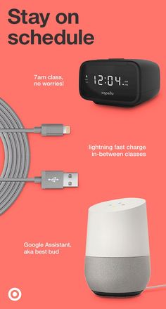 Give your student the perfect tech-life balance with gadgets to help them stay on track at college. Every dorm room needs an alarm that makes waking up groovier, and every phone needs a lightning fast charging cord, right? Hook them up with a Google Home voice-activated speaker and they're set.