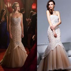Caroline Forbes (Candice Accola) wore Sherri Hill style 2789 on the prom episode of The Vampire Diaries!