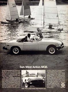 1978 MGB Convertible Roadster original vintage advertisement. With a competition sport suspension, short throw 4-speed stick shift and 1798cc engine.