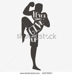 Never give up. Sport/Fitness typographic poster. Motivational and inspirational illustration with lettering. For logo, T-shirt design, bags, poster and .banner. - stock vector