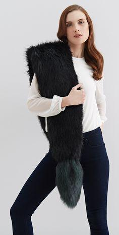 Helen Moore AW15 | Faux Fur Dipped Vixen in Ebony and Spruce. #helenmoore #vixen