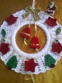 Diy Christmas Angel Ornaments, Crochet Christmas Ornaments, Christmas Crochet Patterns, Crochet Snowflakes, Christmas Angels, Christmas Time, Christmas Crafts, Christmas Decorations, Crochet Wreath