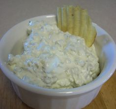 Pickle Dip - Low Carb!!! I used cottage cheese (not Dean's brand:P instead of the sour cream by accident and it surprisingly turned out great!!! I prefer mine with a thicker consistency so I used just a little less than 1/4 cup of the pickle juice. Dipped cheese chips to keep it low carb :D