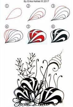 Shallots Tangle, Zentangle Pattern by Erika Kehlet Zentangle Drawings, Doodles Zentangles, Zentangle Patterns, Doodle Drawings, Doodle Art, Zen Doodle Patterns, Doodle Borders, Tangle Doodle, Tangle Art
