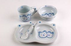 We sell authentically made in Japan Arita porcelain bowl. Japanese kids plates, mug, cup ceramic ware. Asian dinnerware for children.