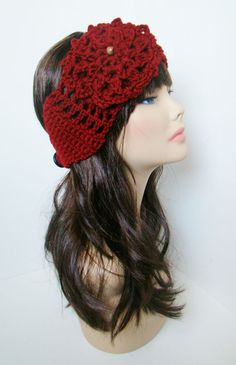 """Ear Warmer with Aster flower - Maroon. $18.00, via Etsy. Coupon code """"Pin10"""" saves you 10%! #christmas #gift #giftguide #giftsforher #crochet #etsy #yarn"""