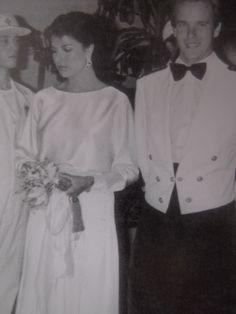 Princess Caroline and Prince Albert of Monaco at the Annual Monaco Red Cross Ball Gala (Princess Grace's last) .1982.