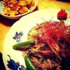 レシピとお料理がひらめくSnapDish - 40件のもぐもぐ - 牛肉とお野菜の黒酢オイスターソース炒め…安納芋と南瓜、ローストナッツのサラダ by tayuko