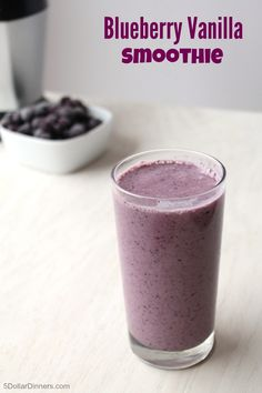 Blueberry Vanilla Smoothie ~ Blueberries + vanilla yogurt + vanilla + a smidge of protein from almond butter = deliciousness from 5DollarDinners.com