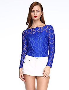 Women's Lace Patchwork Lace Plus Size Hollow Out T-shirt,Round Neck Long Sleeve