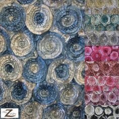 2 Two-Tone Spiral Rosette Taffeta Fabric