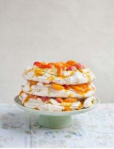 Pistachio and Apricot Meringue Layer Cake ~ Sainsbury's Magazine
