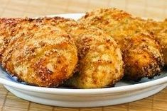 So much better than fried!!! Melt in Your Mouth Chicken Breast, 1/2 c parmesan cheese,1 c Greek yogurt, 1 tsp garlic powder, 1 1/2 tsp seasoning salt 1/2 tsp pepper, spread mix over chicken breasts, bake at 375 45 mins looks-delicious.