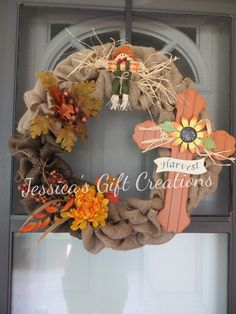 Harvest Burlap Wreath/Autumn Cross/Door Decor/Wall Decor/Home Decor/Fall Season/Scarecrow/Fall Colors/Ready to Ship/Gift/Fall Leaves by JessicasGCreations on Etsy